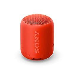 Sony SRS-XB12 Bluetooth Lautsprecher (tragbar, kabellos, Extra Bass, wasserabweisend) rot