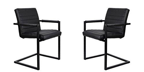 Feel Furniture -CONFERENCE stuhl - Schwarz- 2 Stück - Schlankem Industriedesign mit hochwertigen Materialien: Büffelleder und Stahl. Elegantes...