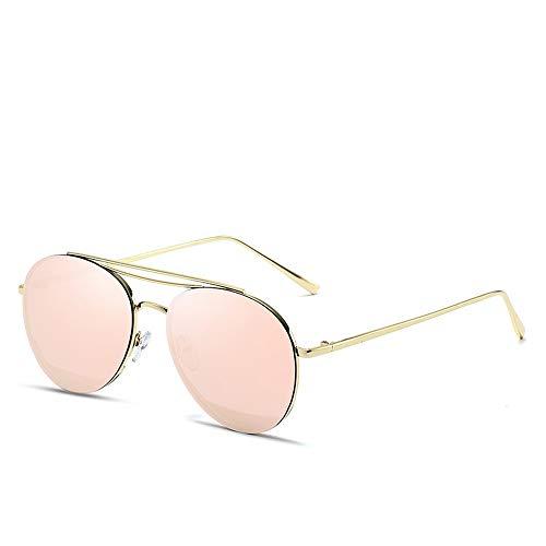 Duhongmei123 Mode Brillen Classic Aviator Mirrored Flat Lens Sonnenbrille Metallrahmen mit Federscharnieren Metallrahmen Sonnenbrille Occhiali (Color : 02Pink, Size : Kostenlos)