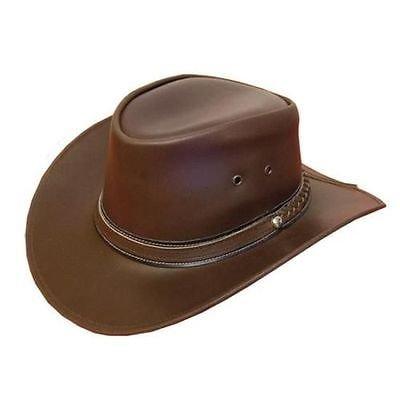 LEATHER COWBOY WESTERN AUSSIE STYLE BUSH HAT (XL ( 60 CM))
