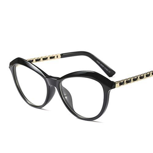 Junjiagao Myopie-Brillengestell, Retro-rundes Gesicht Full Frame Clear Lens Brillen Ultra leicht (Farbe : Schwarz)