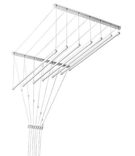 Deckentrockner 140 cm weiß 7 stab stahl ø13 mm rundes stange novità. stendibiancheria da soffitto 140cm bianco 7aste portabiancheria regolabili