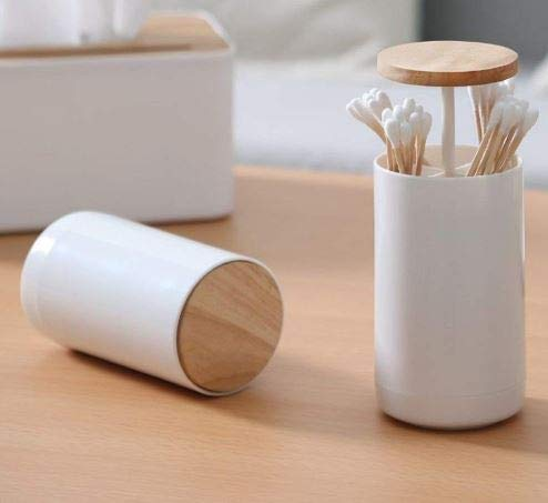 Magenta® Cotton Swab Holder Pop-Up Cotton Bud Swabs Toothpick Holder Dispenser Organizer Box for Home Office Cafe Restaurant Hotel Decoration, White