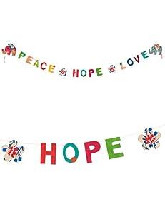 Tim & Puce 80633 - Guirnalda con Texto Peace Hope Love in Lokta