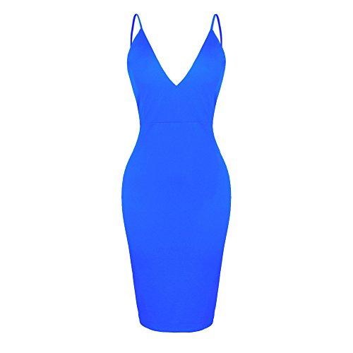 Smile YKK Reizvoll V-Ausschnitt-Ruckenfrei Sommer Damen Knielanges Kleid Slimkleid Party Kleid Cocktailkleid Bodycon Kleid Blau