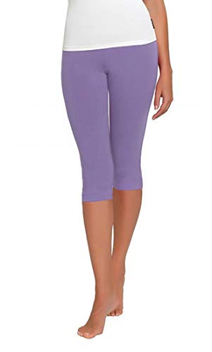 Lange Länge Leggings (FUNGO Leggings Für Damen 3/4 Länge Capri Damen Sporthose Bunte Yoga Leggins (46, Lila))