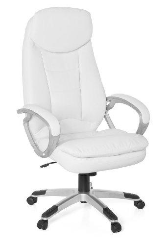 FineBuy Design Bürostuhl COSA Weiß 120 kg Schreibtischstuhl Kunstleder modern | Ergonomischer Chefsessel höhenverstellbar | Drehstuhl mit Wippmechanik hoch | Weißer Schreibtisch-Stuhl gepolstert