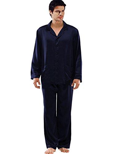 ELLESILK Ensemble de Pyjama Homme, 100% Soie de Mûrier Tops et pantalons, hypoallergénique, Bleu Marin, L