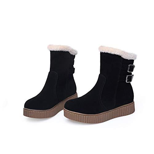 Neue Stiefel Schnee (MENGLTX High Heels Sandalen 2019 Schnee Stiefel Große Größe 34-43 Neue Runde Kappe Schnalle Stiefel Für Frauen Casual Heels Mode Warme Winter Schuhe 17-1 8 Braun)