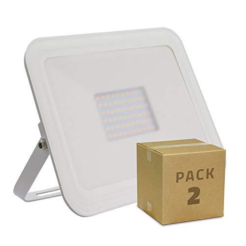 LEDKIA PACK Proiettore LED Slim Vetro 50W Bianco (2 Un) Bianco Caldo 3000K