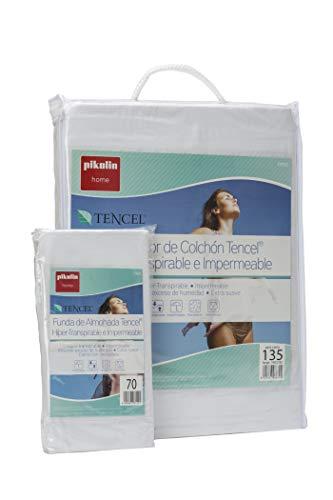 Pikolin Home - Set híper-transpirable e impermeable con protector de colchón (150 x 190/200 cm) y dos fundas de almohada (40 x 75 cm), color blanco (Todas las medidas)
