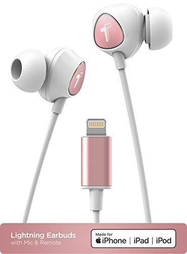 Auriculares para iPhone con conector Lightning MFi certificado por Apple Earbuds con cable ergonómico para auriculares con micrófono/control de volumen y micrófono (funda incluida) oro rosa - V100
