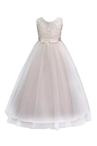 YMING Mädchen Tüll Kleid für Hochzeits Brautjungfern Feierlichkeit Geburtstag Party Kleid,Elfenbein,5-6 Jahre (Mädchen 50er Jahre Kleinkind Kostüme)