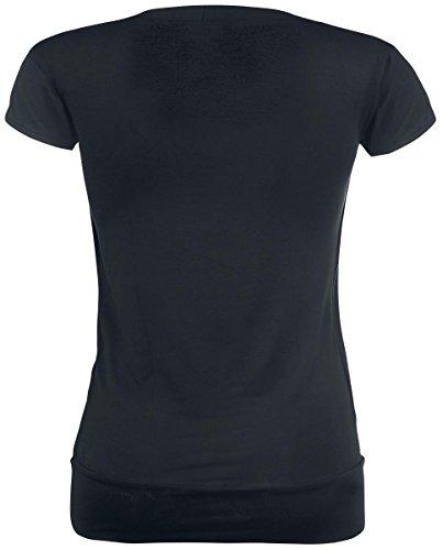 Spiral T-shirt noué à manches courtes 2 en 1 pour femme Motif les veilleurs Noir