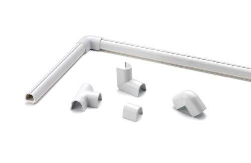 Cablefix Inofix selbstklebender flexibler Kabelkanal & Verbindungen (4 Stück 8 x 7 x 1000 mm, Weiß)
