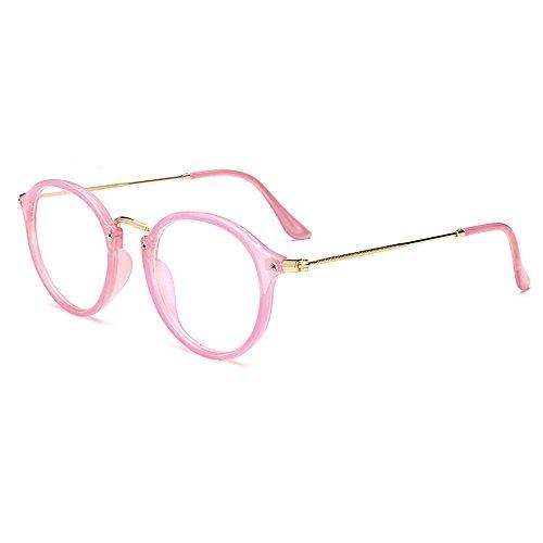 Skitic Retro Rund Brillen Nerdbrille Transparent Gläser Damen / Herren Brillen (Rosa)