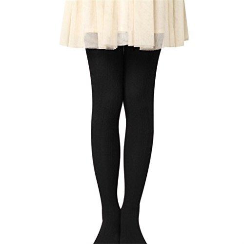 Collant Enfant Fille Automne Hiver Chaud Collants en Coton Epais Legging Résistant Sans Couture Peau-serré pour Enfants Filles 2--12 ans (115(6-8ans), Noir)