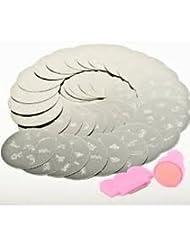 10 x Nail Art Stamping Plaques en métal Image 70 Designs mixtes avec Stamp & Scraper outil de Boolavard® TM