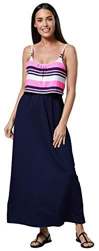 Happy Mama Damen Mutterschaft Muster Empire-Taille Riemen Langes Kleid 009p (Neon Rose Streifen mit Marine, EU 44/46, 2XL)