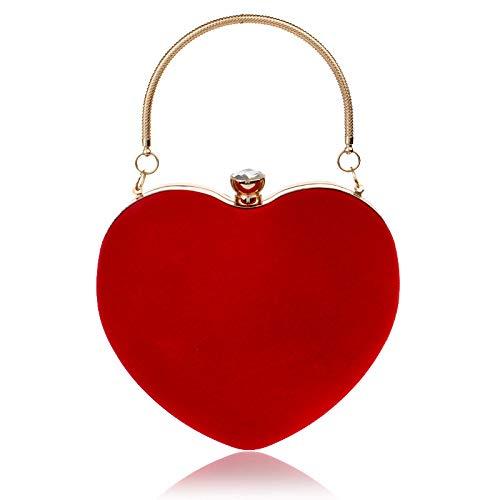Ldyia Herzförmige Handtasche Dame Mode Kosmetiktasche Abendtasche Clutch, rot
