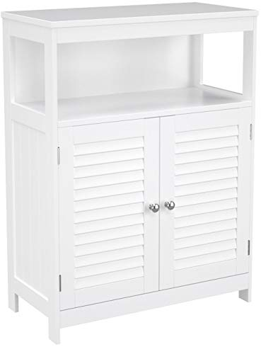 VASAGLE Badezimmerschrank aus Holz, Badezimmer Organizer, Badezimmerregal, freistehend mit 2 Lamellentüren, weiß, BBC40WT