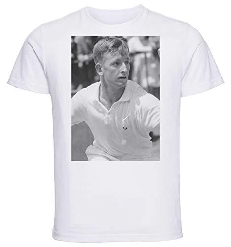 Instabuy T-Shirt Unisex - White Shirt - Tennis - Rod Laver Size Medium (Rod Laver)