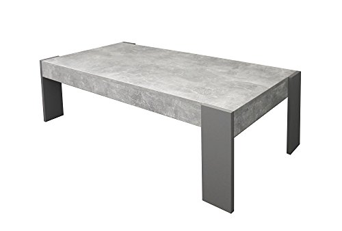 CAVADORE Couchtisch TIMON/moderner, niedriger Beistelltisch in Melamin Light Atelier/Sofa-Tisch in Beton Optik grau/124 x 60 x 42 cm (L x B x H)