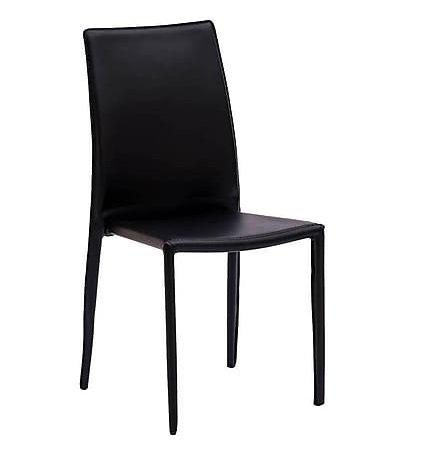Arredo & Design Italy 4 Sedie in Metallo impilabili rivestite in Ecopelle Nera Cucina Ristorante Pub Sala da Pranzo Salotto Studio