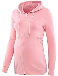 Love2Mi Schwangere Sweatshirt Langarmshirt Hoodie Umstandsmode Kapuzenpullover Jacke mit Reißverschluss