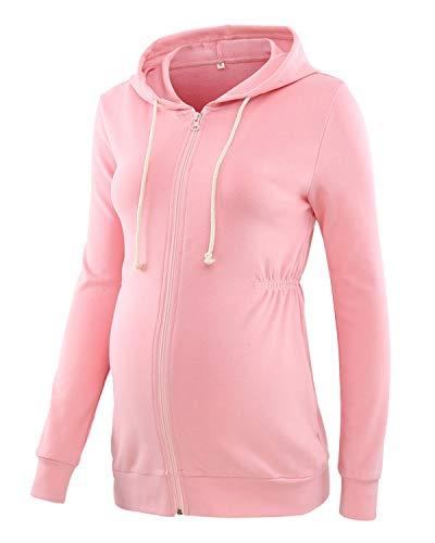 Love2Mi Damen Schwangere Kapuzenpullover Zipper Sweatshirts Jacke Umstandsmode Langarm Hoodie, Pink, M