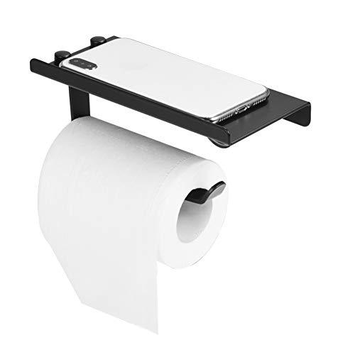 AIOXY Aluminium WC Badezimmer Papierhalter Schwarz-Gewebe-Kasten Zubehör für das Badezimmer mit WC Telefon Regal-Halter-Platte, hohe Qualität,Schwarz (Schwarzer Gewebe-kasten-halter)