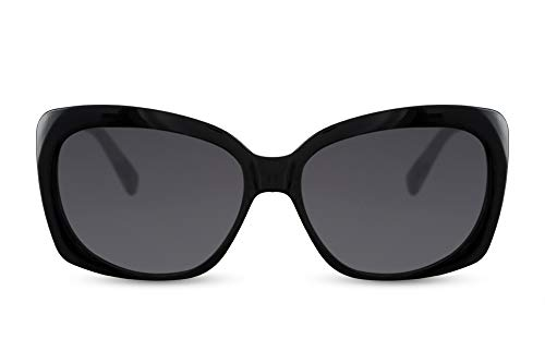Cheapass Sonnenbrille Schwarz Rechteckig Groß UV-400 Cat-Eye Plastik Damen