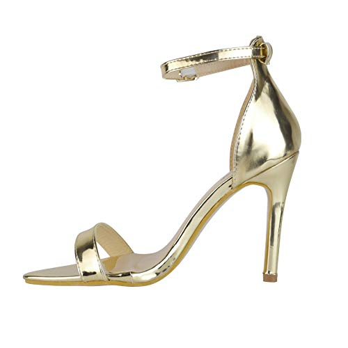 BeMeesh Damen Plateau kaum sichtbare Zehen Stiletto High Heel Sandalen Schuhe (High Heels Damen Gold)