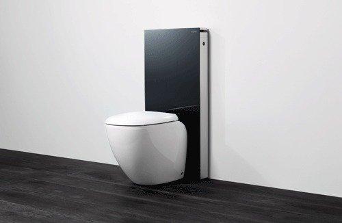Geberit 131.003. SJ. 1seitlicher Spülkasten Monolith, für den Boden, Toilette, Glas schwarz/Aluminium gebürstet