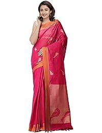 Unnati Silks Cotton Saree With Blouse Piece(Unm32264_Pink_Free Size)