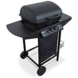 Alice's Garden ARAMIS - Barbecue au gaz - Cuisine extérieure 2 brûleurs avec tablettes latérales et thermomètre