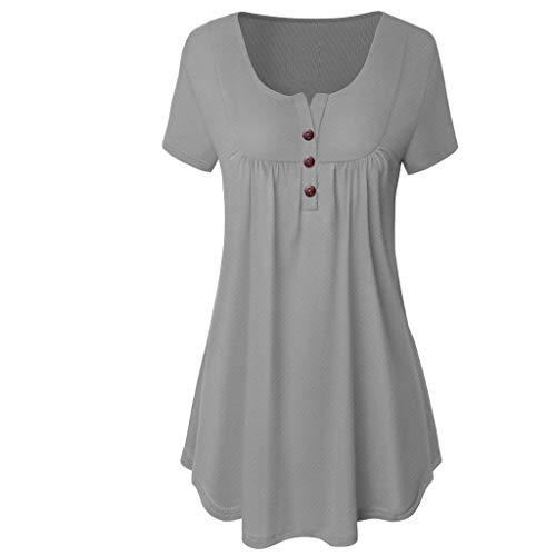 Zegeey Damen T-Shirt Kurzarm Rundhals Mit Knopf Einfarbig Schicker Elegant LäSsige Lose Slim Sommer Oberteil Bluse Tops Shirts Pullover (Grau,EU-40/CN-L)