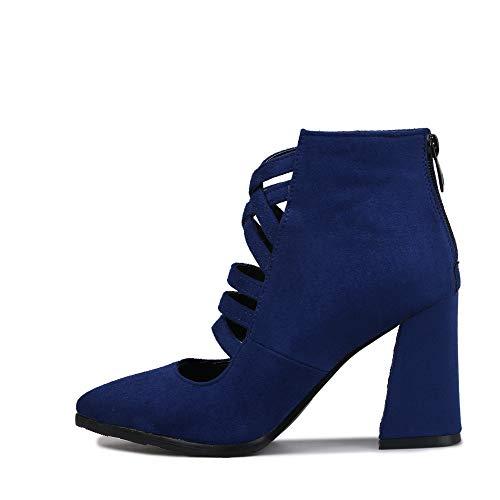 Deloito Damen Mode Freizeit Reißverschluss Hinten einzelne Schuhe Bereift Quadratische Ferse Spitze High Heels Dünner Gürtel Hollow Wild Stiefel (Blau,41 EU)