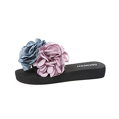 Donne'spantofole & flip-flops Estate Mary Jane tessuto abbigliamento outdoor casual tacco piatto fiore a piedi US6.5-7 / EU37 / UK4.5-5 / CN37