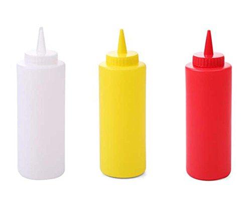 Distributeur de bouteilles à sauce à presser en plastique 3pièces/boîte pour assaisonnement Moutarde Ketchup Huile Crème Miel et à vinaigrette