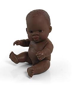 Miniland- Baby Africano Niño 21cm Muñeco, Color real (31143)