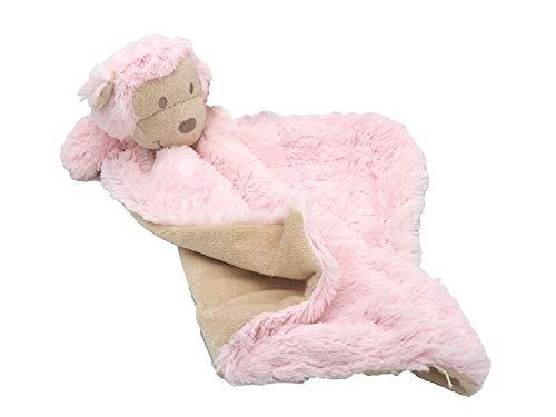 Unbekannt Schnuffeltuch Schmusetuch Kuscheltuch AFFE Kind Baby Kuscheltier Stofftier Geschenk Geburt Taufe, Farbe:Rosa (Stofftier Rosa Affe)