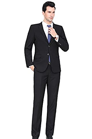 SK Studio Men's Big and Tall Two Piece Business Suits Black