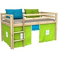 Cama de juego,cama para niños,de alta,cama con cortinas,colchón
