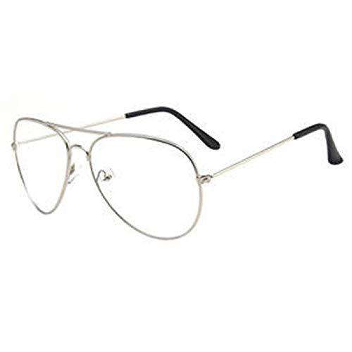 Haiyemao feiner Seitenrahmen Fliegerbrille im Unisex-Stil mit Brillengestell aus Metall klare Linse Vintage Brille Retro Plain Brillen Brillen für Männer und Frauen - Silber Rahmengläser gelten