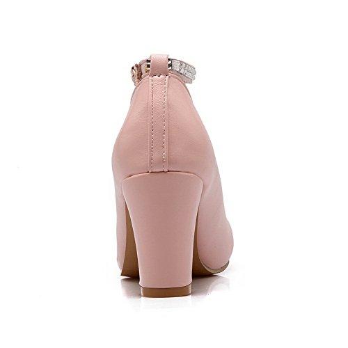 Cuir Rose Talon Unie Haut VogueZone009 Couleur DOrteil Chaussures à Boucle Légeres Fermeture Pu Femme Rond xFzwz46B