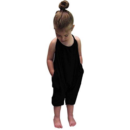 Kid Jumpsuits Strampler Kolylong® (1-7 Jahre alt) Kleinkind Kid Baby Mädchen Riemen Spielanzug Mädchen Sommer Outfits Overalls Hose SommerKleidung (110CM (2-3Jahre alt), Schwarz) (Riemen Quaste)