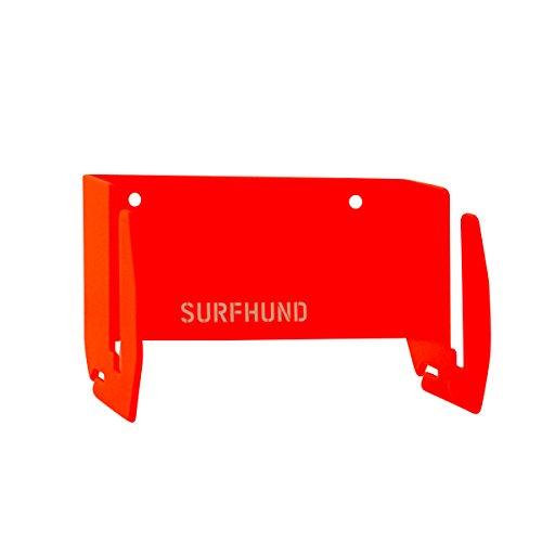 SURFHUND® Longboard Wand Halterung: Skateboard Deck, Wakeboard & Kiteboard montieren - Hochqualitative Stahlhalterung für alle Boards mit bis zu 15mm Dicke - Wanddekoration für Skater (Neonorange)