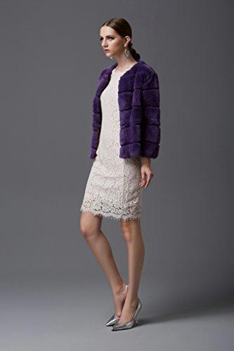 Saoirse Mode Damen 100% Echter Rex-Kanichen Pelz kurze Schlanke Runde Kragen Mantel Lila