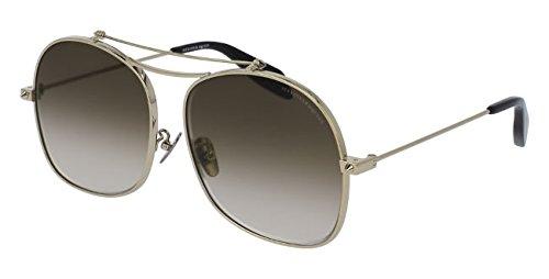 Alexander McQueen Unisex-Erwachsene AM0088S 004 59 Sonnenbrille, Gold (004-Gold/Brown)